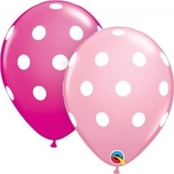 "11"" / 28cm Big Polka Asst of Wild Berry, Pink Qualatex #54138-1"
