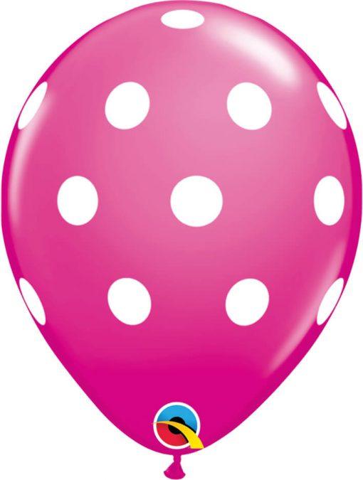 "11"" / 28cm Big Polka Asst of Wild Berry, Pink Qualatex #54138-1"