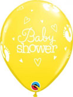 "11"" / 28cm Baby Shower Footprints & Hearts Pastel Asst Qualatex #54163-1"