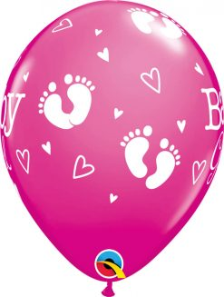 "11"" / 28cm Baby Boy Footprints & Hearts Wild Berry Qualatex #54165-1"