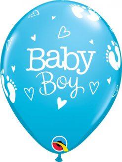 "11"" / 28cm Baby Boy Footprints & Hearts Robin's Egg Blue Qualatex #54168-1"