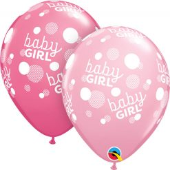 "11"" / 28cm Baby Girl Dots-A-Round Asst of Pink, Rose Qualatex #55987-1"