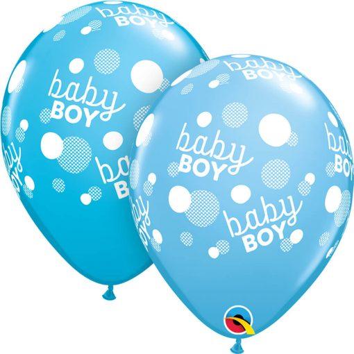 "11"" / 28cm Baby Boy Dots-A-Round Asst of Pale Blue, Robin's Egg Blue Qualatex #55988-1"