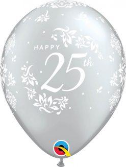 "11"" / 28cm 6szt 25th Anniversary Damask Silver Qualatex #57170"