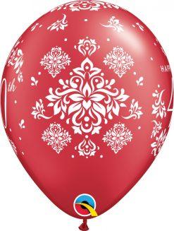 "11"" / 28cm 6szt 40th Anniversary Damask Pearl Ruby Red Qualatex #57171"