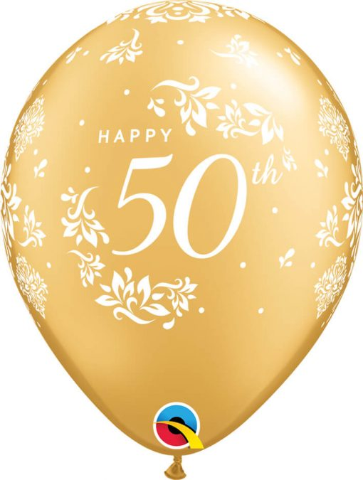 "11"" / 28cm 6szt 50th Anniversary Damask Gold Qualatex #57172"