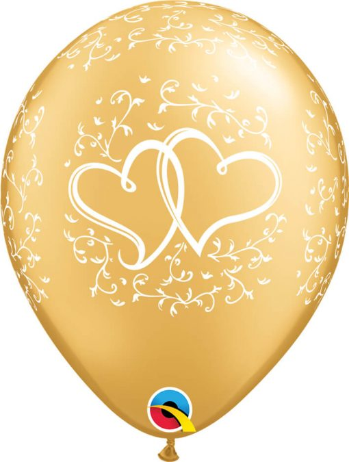 """11"""" / 28cm 6szt Entwined Hearts Gold Qualatex #57174"""