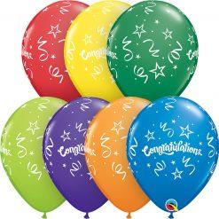 "11"" / 28cm Congratulations Streamers Carnival Asst Qualatex #57184-1"
