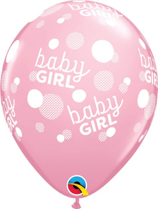 """11"""" / 28cm 6szt Baby Girl Dots-A-Round Pink Qualatex #57603"""