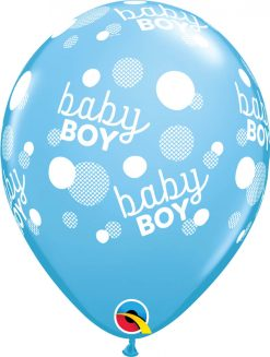 "11"" / 28cm 6szt Baby Boy Dots-A-Round Pale Blue Qualatex #57604"