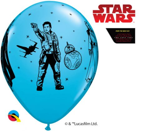 "12"" / 30cm 6szt Star Wars: The Last Jedi Asst of Red, Lime Green, Robin's Egg Blue Qualatex #57625"