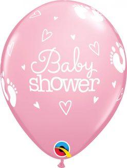 "11"" / 28cm Baby Shower Footprints & Hearts Pink Qualatex #58370-1"