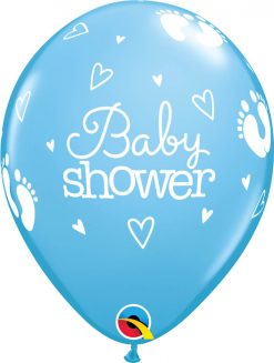 "11"" / 28cm Baby Shower Footprints & Hearts Pale Blue Qualatex #58371-1"
