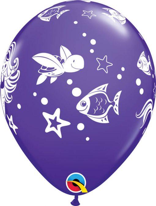 "11"" / 28cm Merry Mermaid & Friends Asst of Wild Berry, Purple Violet, Caribbean Blue Qualatex #58381-1"
