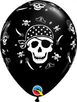 "11"" / 28cm Pirate Skull & Cross Bones Onyx Black Qualatex #60752-1"
