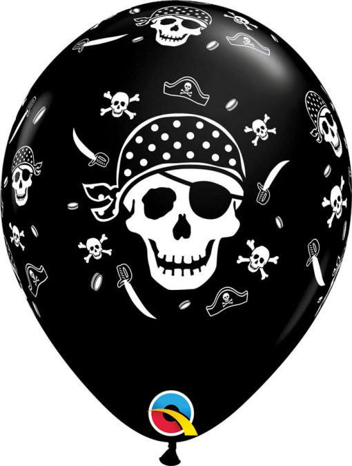 "11"" / 28cm Pirate Skull & Cross Bones Onyx Black Qualatex #60752-1"