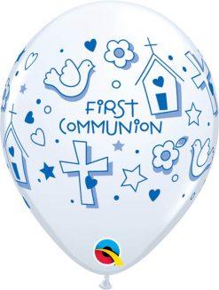"11"" / 28cm First Communion Symbols - Boy White Qualatex #60983-1"