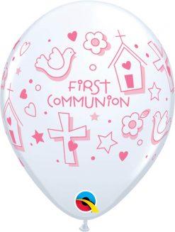 "11"" / 28cm First Communion Symbols - Girl White Qualatex #60985-1"