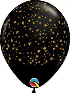 "11"" / 28cm Stars-a-Round Onyx Black w/Gold Ink Qualatex #80596-1"