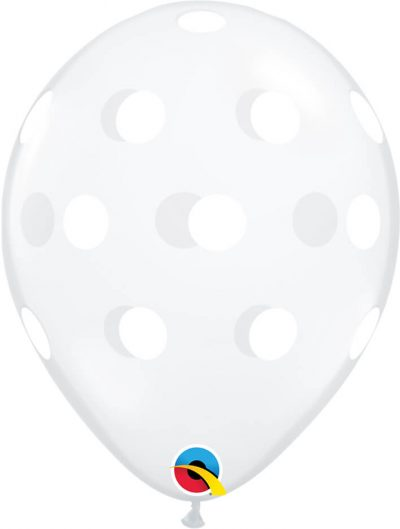 "11"" / 28cm Big Polka Dots Diamond Clear Qualatex #81680-1"