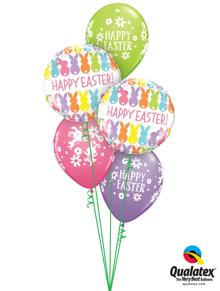 Bukiet 883 Happy Easter Bunnies & Daisies Qualatex #82201-2 57815-3