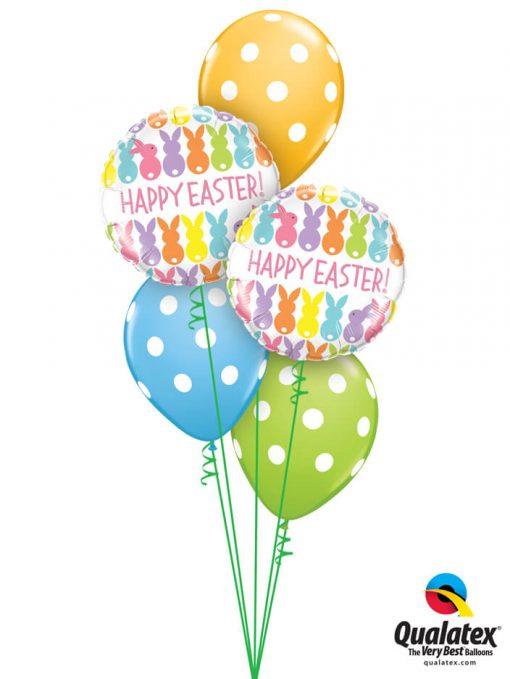 Bukiet 884 Happy Easter Polka Dots Qualatex #82201-2 86421-3