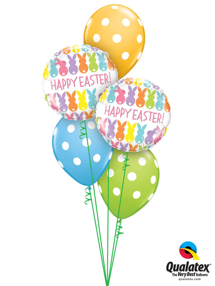Bukiet 884 Happy Easter Polka Dots Qualatex #82201-2 86421-3