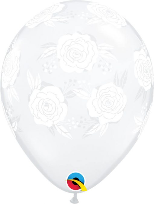 "11"" / 28cm Roses In Bloom Diamond Clear Qualatex #85640-1"