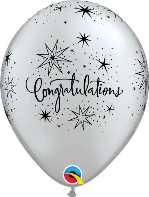 """11"""" / 28cm Congratulations Elegant Asst of Gold, Silver Qualatex #85682-1"""