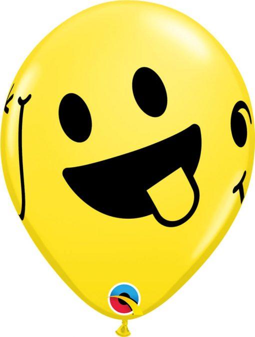 "11"" / 28cm Smiley Faces Standard Asst w/ White Qualatex #85705-1"