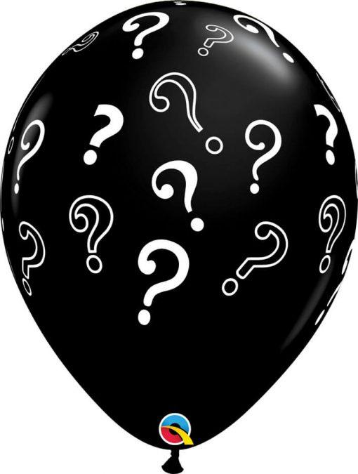 16″ / 41cm Question Marks Onyx Black Qualatex #85843-1