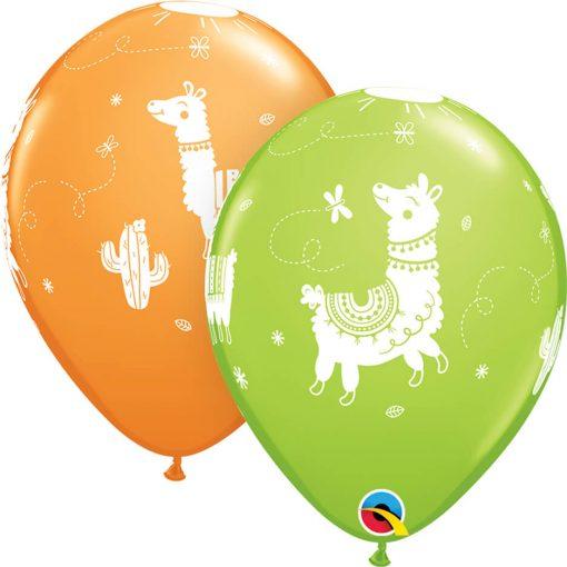 "11"" / 28cm 6szt Llamas Asst of Lime Green, Orange Qualatex #86021"