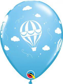 "11"" / 28cm Hot Air Balloons Asst of Pale Blue, Dark Blue Qualatex #86560-1"