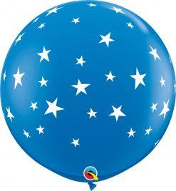 3' / 91cm Contempo Stars-A-Round Dark Blue Qualatex #88282-1