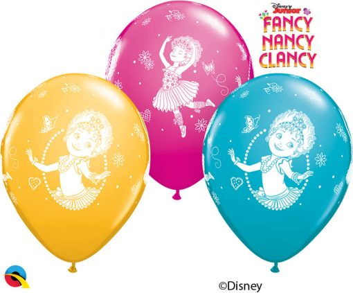 "12"" / 30cm 6szt Disney Fancy Nancy Clancy Asst of Wild Berry, Tropical Teal, Goldenrod Qualatex #89234"