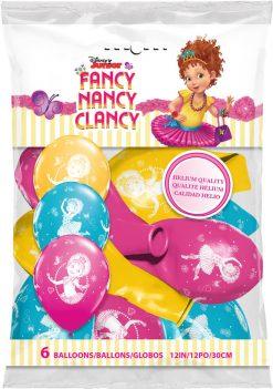 "12"" / 30cm 6szt Disney Fancy Nancy Clancy Asst of Wild Berry, Tropical Teal, Goldenrod Qualatex #89234"