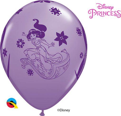 "12"" / 30cm 6szt Disney Princess Jasmine Asst of Spring Lilac, Caribbean Blue, Rose Qualatex #89237"