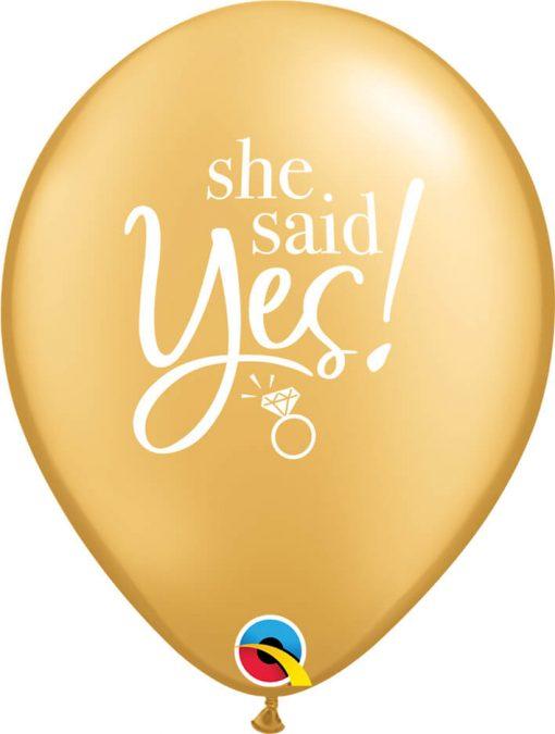 "11"" / 28cm She Said Yes! Gold Qualatex #89444-1"