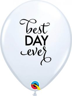 """11"""" / 28cm Simply Best Day Ever White w/Black Ink Qualatex #89445-1"""