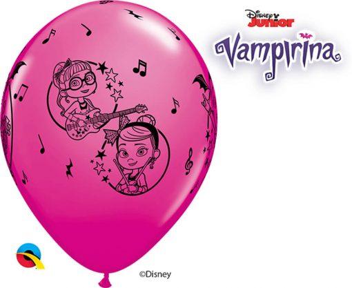 "12"" / 30cm 6szt Disney Vampirina Asst of Wild Berry, Lime Green, Spring Lilac Qualatex #90151"