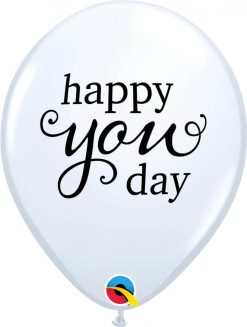 """11"""" / 28cm Simply Happy You Day White Qualatex #90972-1"""