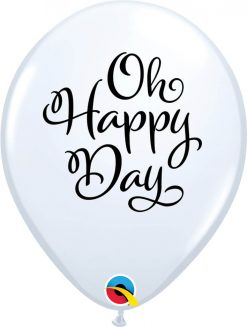 """11"""" / 28cm Simply Oh Happy Day White Qualatex #90994-1"""