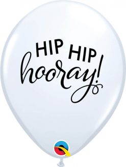 "11"" / 28cm Simply Hip Hip Hooray White Qualatex #90995-1"