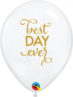 """11"""" / 28cm Simply Best Day Ever Diamond Clear w/Gold Ink Qualatex #91019-1"""