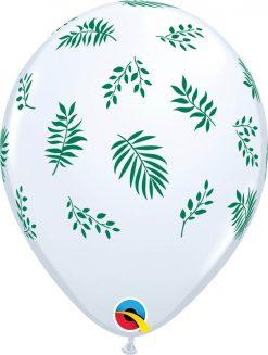 "11"" / 28cm Tropical Greenery White Qualatex #91130-1"