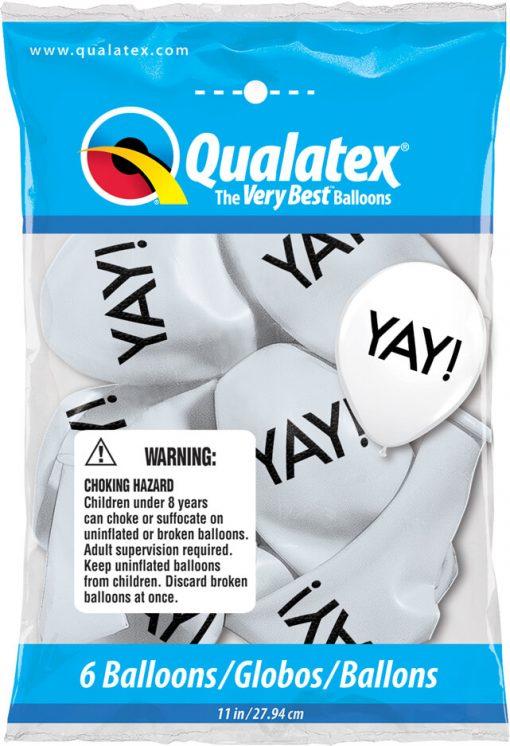 "11"" / 28cm 6szt Simply Yay! White Qualatex #91140"
