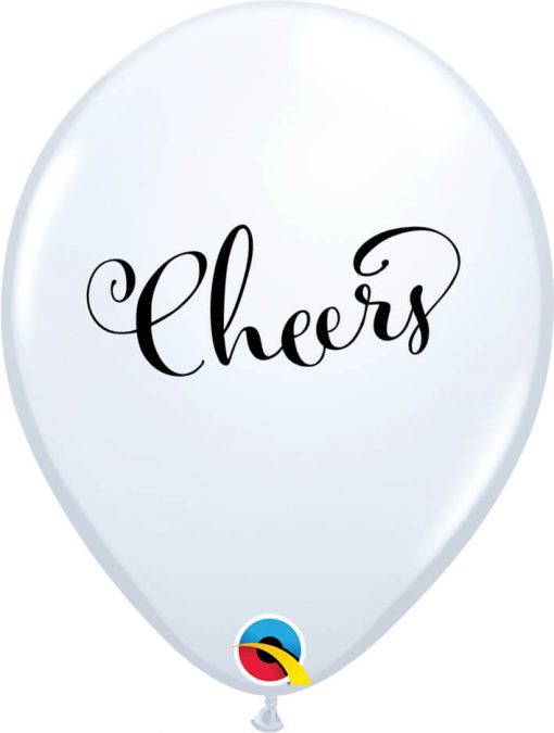 "11"" / 28cm 6szt Simply Cheers White Qualatex #91142"