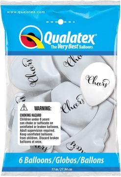 "11"" / 28cm 6szt Simply Cheers White Qualatex #91142"