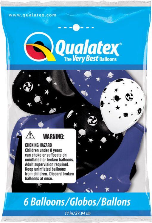 """11"""" / 28cm 6szt Celestial Fun Asst of Navy, Onyx Black Qualatex #91145"""