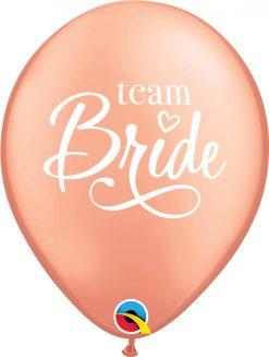 """11"""" / 28cm 6szt Team Bride Rose Gold Qualatex #91149"""